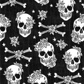 Skull Floral Black and White