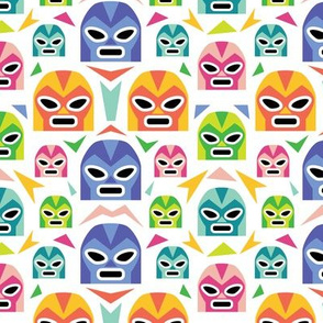 Colorful Lucha Libre Masks - White