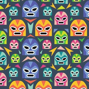 Colorful Lucha Libre Masks - Navy