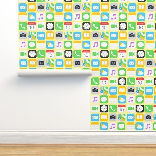 Phone Screen Yellow Background Spoonflower