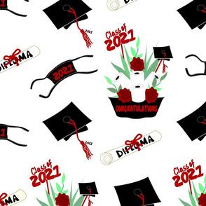 Covid Graduation 2021 Covid Graduation 2021 Black White Red Rose