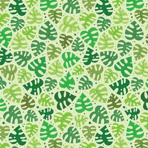 Monstera Doodles in Greens