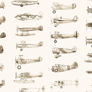 Classic Airplanes in Sepia