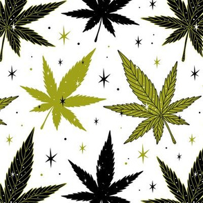 Marijuana leaves green and black