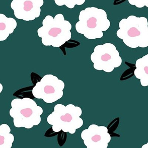 Butter cup flowers and leaves minimal boho garden daisy flower bed retro nursery teal gray pink LARGE
