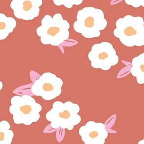 Butter cup flowers and leaves minimal boho garden daisy flower bed retro nursery stone red pink LARGE