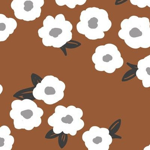 Butter cup flowers and leaves minimal boho garden daisy flower bed retro nursery rust copper neutral LARGE