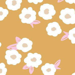 Butter cup flowers and leaves minimal boho garden daisy flower bed retro nursery ochre yellow pink girls LARGE
