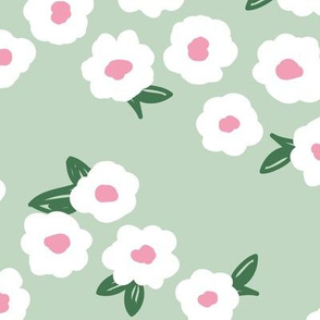Butter cup flowers and leaves minimal boho garden daisy flower bed retro nursery mint sage green pink LARGE