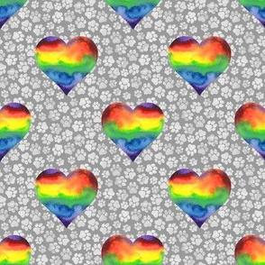 Rainbow Hearts with Gray Pawprints