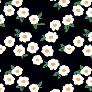 Butter cup flowers and leaves minimal boho garden daisy flower bed retro nursery green white yellow on black