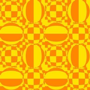 JP36 - Medium - Contemporary Geometric Quatrefoil  in  Vivid  Yellow  and Orange