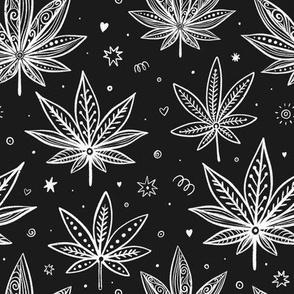 marijuana leaves on chalkboard