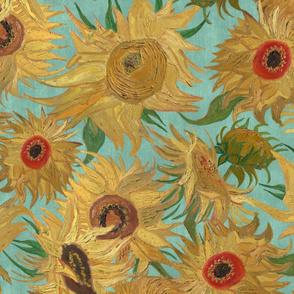 Van Gogh Sunflowers aqua saffron yellow