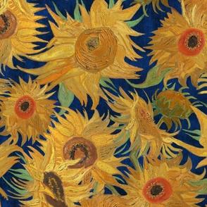 Van Gogh Sunflowers indigo orange blue