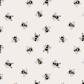 Lovely summer bee boho garden watercolor bumble bees new life nursery soft off white beige