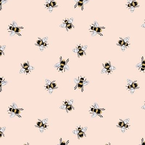 Lovely summer bee boho garden watercolor bumble bees new life nursery pale pink apricot girls