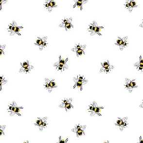 Lovely summer bee boho garden watercolor bumble bees new life nursery yellow on crisp white