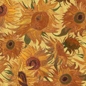 Van Gogh Sunflowers saffron orange yellow
