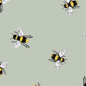 Lovely summer bee boho garden watercolor bumble bees new life nursery sage green yellow LARGE