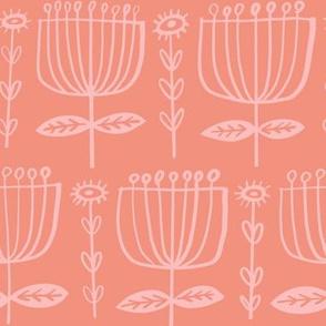 Folk Art Tulips - coral peach