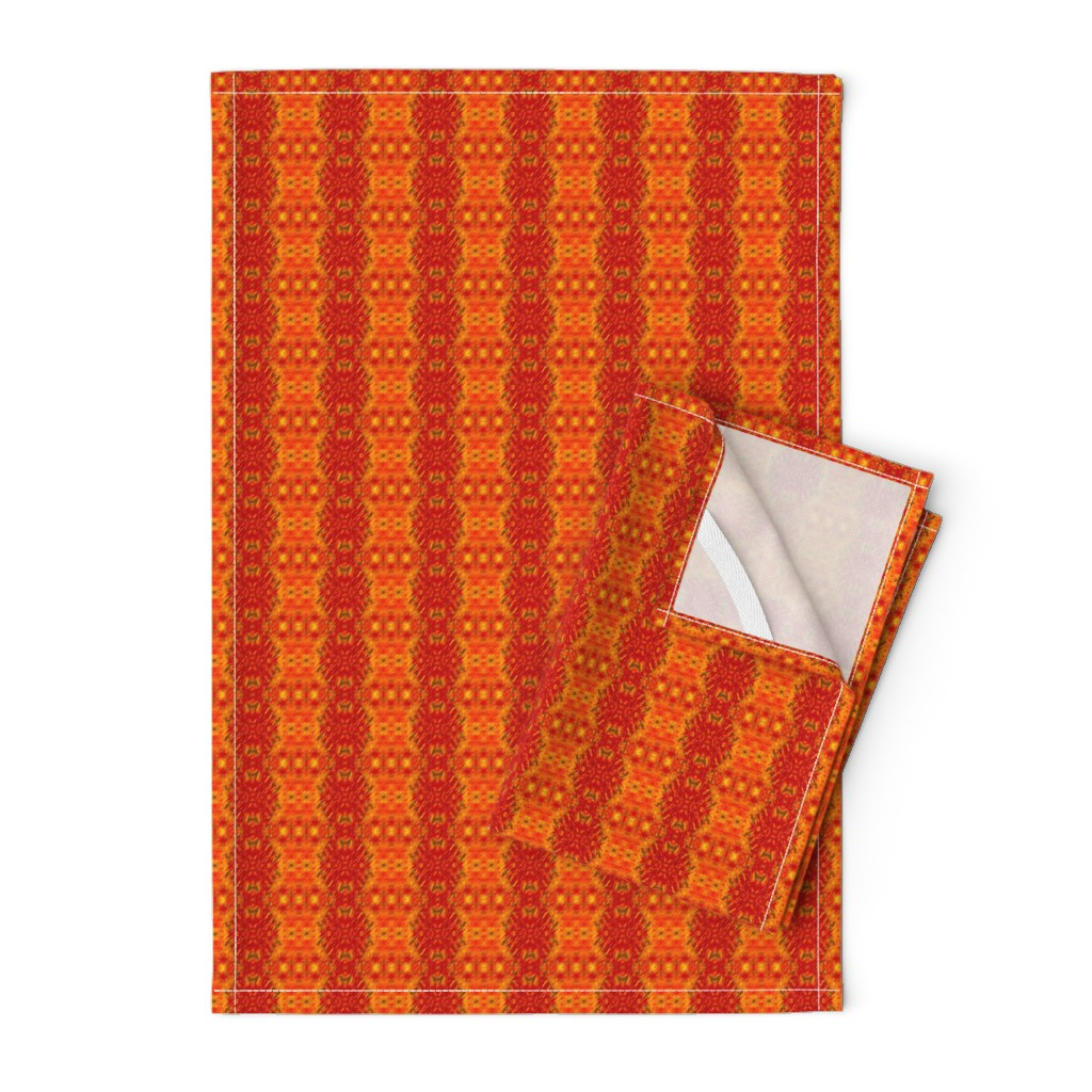 Orpington Tea Towels featuring Ristra Stripe 1   -new v2 by fireflower