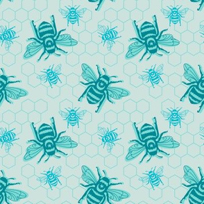 Smaller Bees - blue