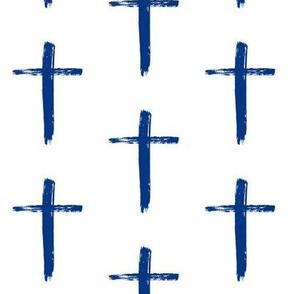 Navy Brushstroke Cross