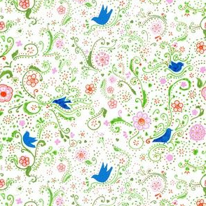 Dotted Floral  with Birds