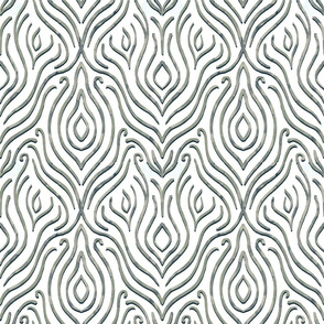 Line art damask - grey and white
