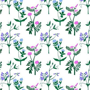 Wildflowers Pattern 3 White