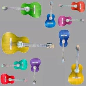Multicolor Guitars on Gray