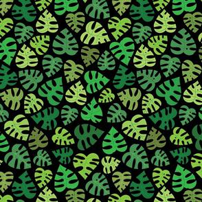Monstera Doodles in Greens on Black