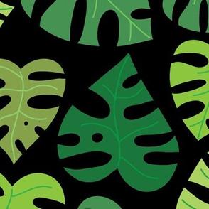 Monstera Doodles in Greens on Black - Large