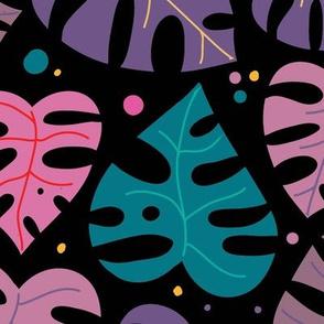Monstera Doodles in Jewel Tones on Black - Large