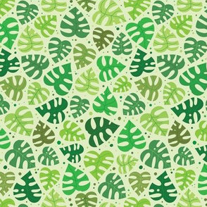 Monstera Doodles in Greens - Small