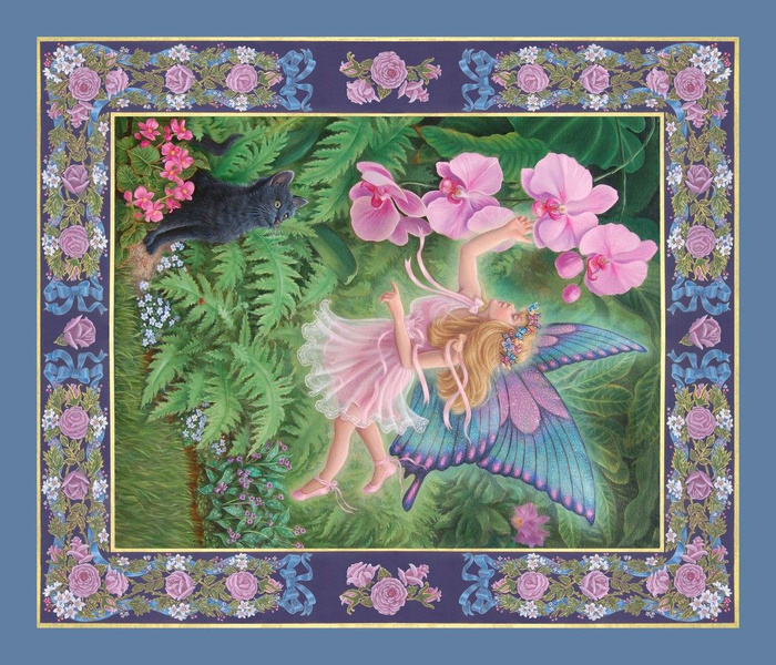 Midsummer Orchid Fairy, TeaTowel or Quilt Panel