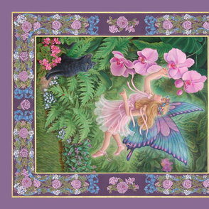 Pink Fairy, Orchids and Cat, Quilt Panel, Lavender Border