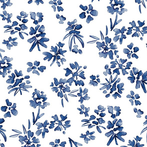 Blue And White Watercolor Floral Abstract painting