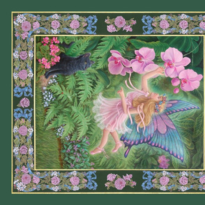 Pink Fairy, Orchids & Cat, Quilt Panel, on Green