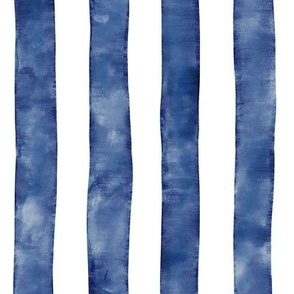 Bold Watercolor Stripes Blue
