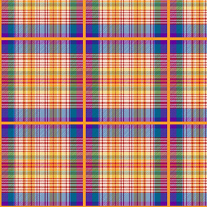 Sanjay's Tartan - sunset orange, violet, blue