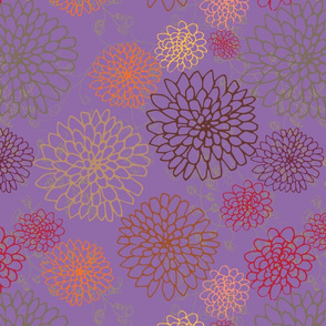 Chrysanthemum - Golds, Oranges and Reds on Lilac