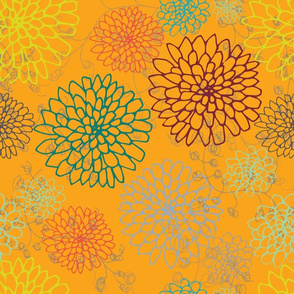 Chrysanthemum - Greens and Reds with a Tangerine background