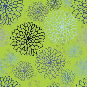 Chrysanthemum - Blues and Purples on Lime