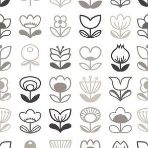 Modern flowers - grayscale - small scale