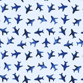 Small scale blue around the world watercolor airplanes p279