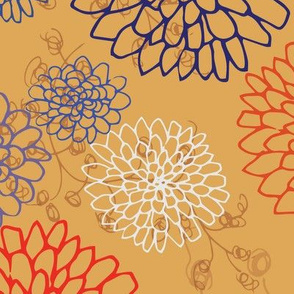 Chrysanthemum - Reds and Blues on Butterscotch