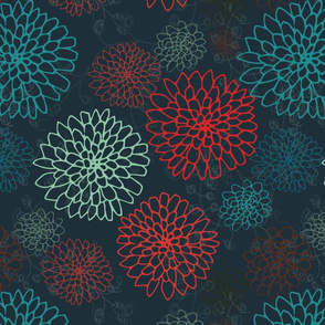 Chrysanthemums - Red & Teal on Charcoal