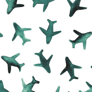 Deep emerald around the world airplanes design ★ watercolor planes for modern nursery